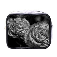 Black And White Tea Roses Mini Travel Toiletry Bag (one Side)