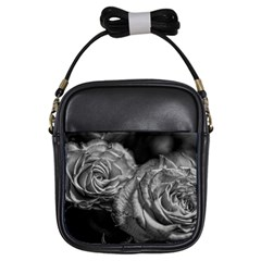 Black And White Tea Roses Girl s Sling Bag