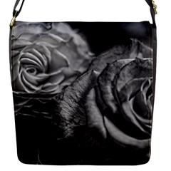 Black And White Tea Roses Flap Closure Messenger Bag (small)
