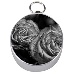 Black and White Tea Roses Silver Compass