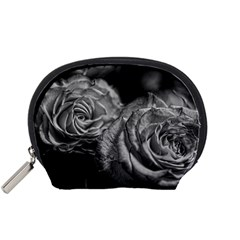 Black And White Tea Roses Accessory Pouch (small)