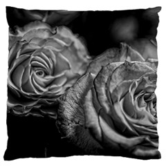 Black and White Tea Roses Large Flano Cushion Case (Two Sides)