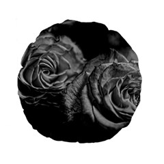 Black and White Tea Roses 15  Premium Flano Round Cushion