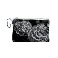 Black and White Tea Roses Canvas Cosmetic Bag (Small)