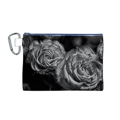 Black and White Tea Roses Canvas Cosmetic Bag (Medium)