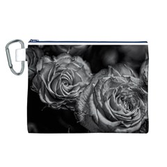 Black and White Tea Roses Canvas Cosmetic Bag (Large)