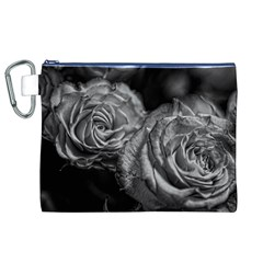 Black and White Tea Roses Canvas Cosmetic Bag (XL)