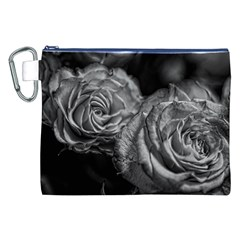 Black and White Tea Roses Canvas Cosmetic Bag (XXL)