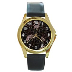 Black Cats Yellow Eyes Round Leather Watch (gold Rim)