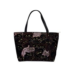 Black Cats Yellow Eyes Large Shoulder Bag