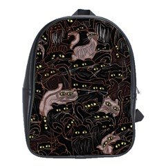 Black Cats Yellow Eyes School Bag (xl)