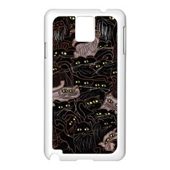 Black Cats Yellow Eyes Samsung Galaxy Note 3 N9005 Case (White)
