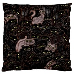Black Cats Yellow Eyes Large Flano Cushion Case (two Sides)