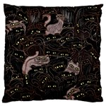 Black Cats Yellow Eyes Large Flano Cushion Case (Two Sides) Front