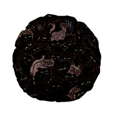 Black Cats Yellow Eyes 15  Premium Flano Round Cushion