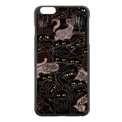 Black Cats Yellow Eyes Apple iPhone 6 Plus Black Enamel Case