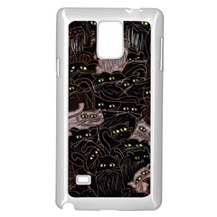 Black Cats Yellow Eyes Samsung Galaxy Note 4 Case (White)