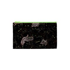 Black Cats Yellow Eyes Cosmetic Bag (XS)