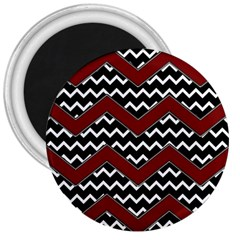 Black White Red Chevrons 3  Button Magnet