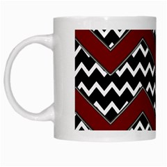 Black White Red Chevrons White Coffee Mug