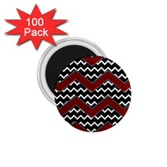 Black White Red Chevrons 1 75  Button Magnet (100 Pack)
