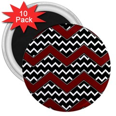 Black White Red Chevrons 3  Button Magnet (10 Pack)