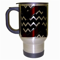 Black White Red Chevrons Travel Mug (silver Gray)