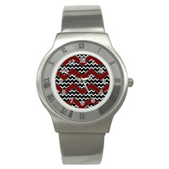 Black White Red Chevrons Stainless Steel Watch (slim)