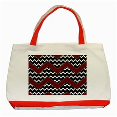 Black White Red Chevrons Classic Tote Bag (Red)