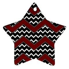 Black White Red Chevrons Star Ornament (two Sides)