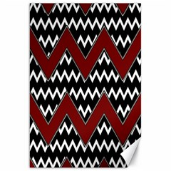 Black White Red Chevrons Canvas 20  X 30  (unframed)