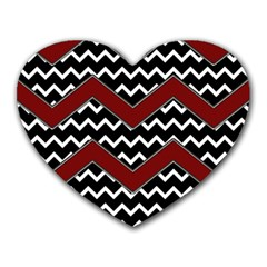 Black White Red Chevrons Mouse Pad (heart)