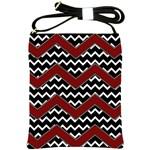 Black White Red Chevrons Shoulder Sling Bag Front