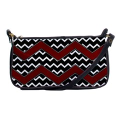 Black White Red Chevrons Evening Bag