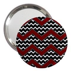 Black White Red Chevrons 3  Handbag Mirror