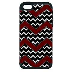 Black White Red Chevrons Apple Iphone 5 Hardshell Case (pc+silicone)