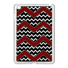 Black White Red Chevrons Apple Ipad Mini Case (white)