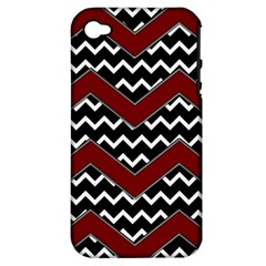 Black White Red Chevrons Apple Iphone 4/4s Hardshell Case (pc+silicone)