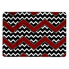 Black White Red Chevrons Samsung Galaxy Tab 10.1  P7500 Flip Case