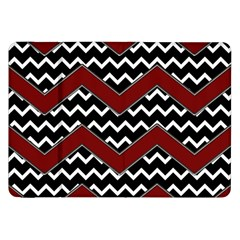 Black White Red Chevrons Samsung Galaxy Tab 8 9  P7300 Flip Case