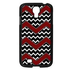 Black White Red Chevrons Samsung Galaxy S4 I9500/ I9505 Case (black)