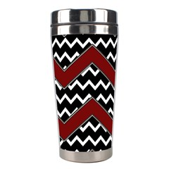 Black White Red Chevrons Stainless Steel Travel Tumbler