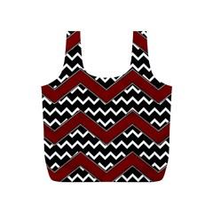 Black White Red Chevrons Reusable Bag (s)