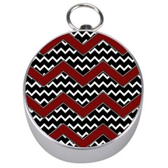 Black White Red Chevrons Silver Compass