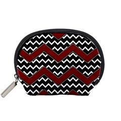 Black White Red Chevrons Accessory Pouch (small)
