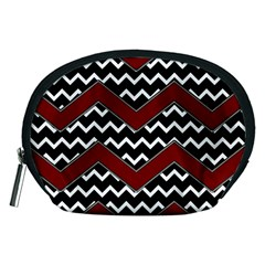 Black White Red Chevrons Accessory Pouch (medium)