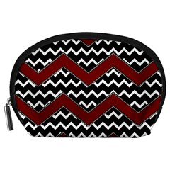 Black White Red Chevrons Accessory Pouch (Large)