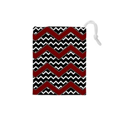 Black White Red Chevrons Drawstring Pouch (Small)