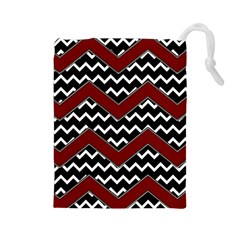Black White Red Chevrons Drawstring Pouch (large)
