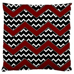 Black White Red Chevrons Large Flano Cushion Case (Two Sides)